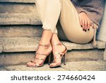 woman legs in high heel golden... | Shutterstock . vector #274660424