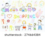 a happy family on shopping.... | Shutterstock .eps vector #274664384