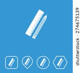 pencil ruler icon on flat ui...