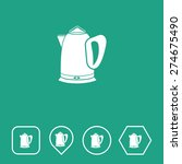 electric kettle icon on flat ui ...