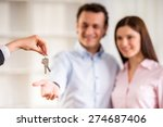 man with his wife being given a ... | Shutterstock . vector #274687406
