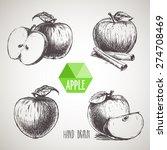 set of hand drawn apple. ... | Shutterstock .eps vector #274708469