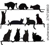 Stock vector set of cats silhouettes 274718810