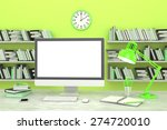 3d illustration pc screen on... | Shutterstock . vector #274720010