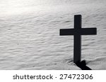 Backlit Cross On Snow Covered...