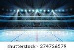 Hockey Stadium With Fans Crowd...