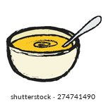 doodle bowl of soup with spoon...   Shutterstock .eps vector #274741490