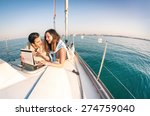 young couple in love on sail... | Shutterstock . vector #274759040