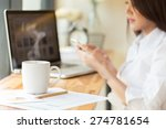 coffee cup and businesswoman... | Shutterstock . vector #274781654