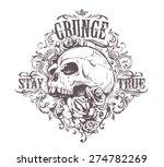 grunge skull art. vintage...