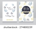 two wedding cards with feathers ... | Shutterstock .eps vector #274800239