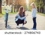 beautiful young mother teaching ... | Shutterstock . vector #274806743