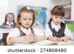portrait of two little girls... | Shutterstock . vector #274808480