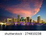 downtown miami skyline at dusk  ... | Shutterstock . vector #274810238