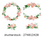 floral watercolor wreaths ... | Shutterstock .eps vector #274812428