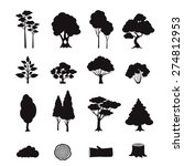 Forest Elements Black Icons Se...