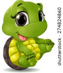 little turtle that sits on a... | Shutterstock .eps vector #274824860