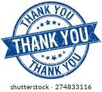 thank you grunge retro blue...   Shutterstock .eps vector #274833116