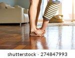 little boy standing on mother's ... | Shutterstock . vector #274847993
