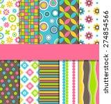 set of 10 seamless bright fun... | Shutterstock .eps vector #274854566