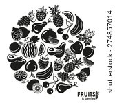 fruits and berries vector icons ... | Shutterstock .eps vector #274857014
