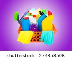 cleaning supplies in a basket   ... | Shutterstock . vector #274858508