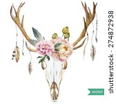 Watercolor Vector Deer Head...
