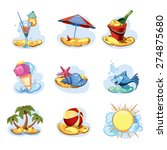 funny icon set. summer time | Shutterstock .eps vector #274875680