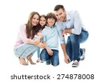 happy family with two kids | Shutterstock . vector #274878008