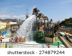 Small photo of BARCELONA, SPAIN - AUGUST 30, 2014: Laberint Pitara water attraction at Illa Fantasia Water Park. Park contains 22 Attractions, 3 giant swimming pools and picnic area for whole family