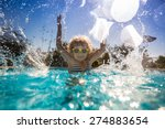 happy child playing in swimming ... | Shutterstock . vector #274883654
