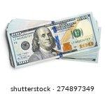 scrolled stack of  dollar bills | Shutterstock . vector #274897349