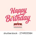 happy birthday flat typographic ... | Shutterstock .eps vector #274905584