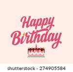 happy birthday flat typographic ... | Shutterstock .eps vector #274905584