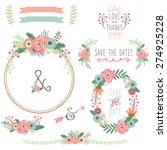 vintage flower wreath | Shutterstock .eps vector #274925228