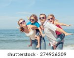 happy family standing on the... | Shutterstock . vector #274926209
