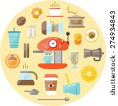 set of vector coffee elements... | Shutterstock .eps vector #274934843