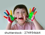cute little girl with painted... | Shutterstock . vector #274954664