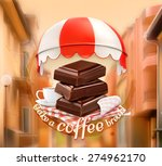 pieces of chocolate and cup of...   Shutterstock .eps vector #274962170