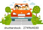 happy family traveling by red... | Shutterstock .eps vector #274964030