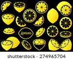 yellow vector lemon icons... | Shutterstock .eps vector #274965704