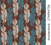birds feathers boho seamless...   Shutterstock .eps vector #274994756