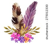 hand painted watercolor boho... | Shutterstock .eps vector #275012330