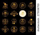 honey label design. bee badge. | Shutterstock .eps vector #275038703
