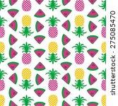 seamless summer pineapple fruit ... | Shutterstock .eps vector #275085470