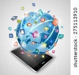 smart phones and globe... | Shutterstock .eps vector #275113910