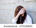 Shy Brunette Girl Covering Her...