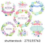 floral hand drawn card set.... | Shutterstock .eps vector #275155763