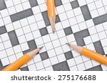 closeup of crossword puzzle and ... | Shutterstock . vector #275176688