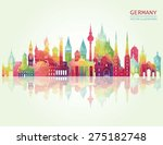 travel germany famous landmarks ... | Shutterstock .eps vector #275182748
